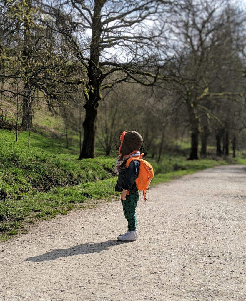 enfant debout forêt sac à dos orange